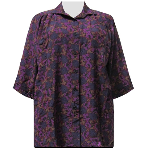 Purple Bernice 3/4 Sleeve Tunic Women's Plus Size Blouse