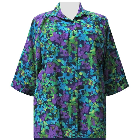 Purple Marigolds 3/4 Sleeve Tunic Women's Plus Size Blouse