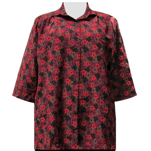 Red Flori 3/4 Sleeve Tunic Women's Plus Size Blouse