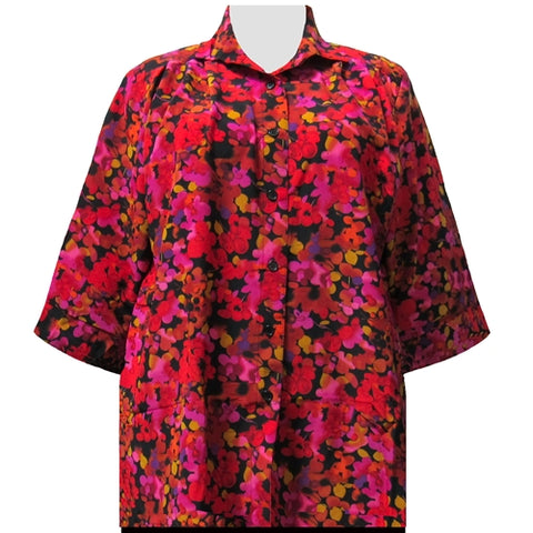 Red Marigolds 3/4 Sleeve Tunic Women's Plus Size Blouse