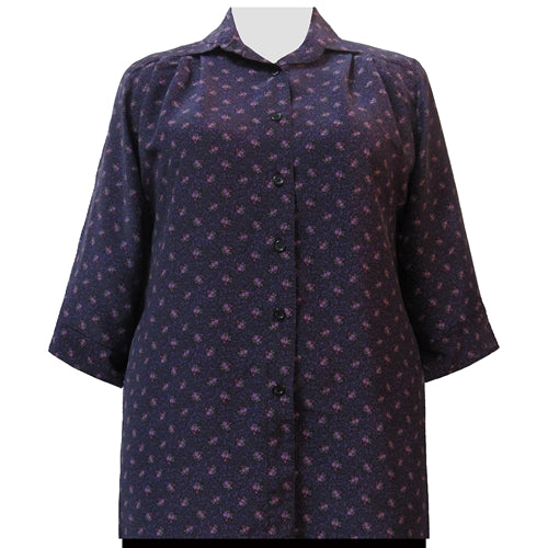 Raspberry Floral 3/4 Sleeve Tunic Women's Plus Size Blouse