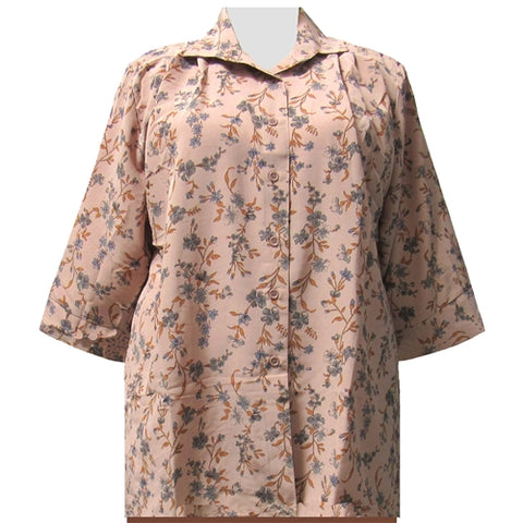 Tan Serena 3/4 Sleeve Tunic Women's Plus Size Blouse