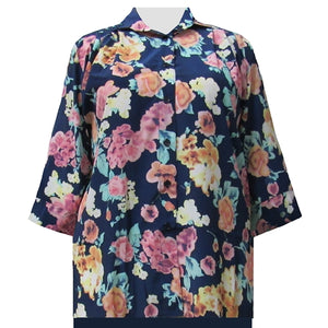 Blue Painted Floral 3/4 Sleeve Tunic Women's Plus Size Blouse