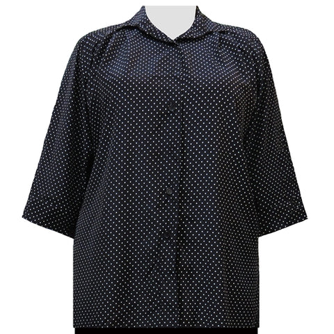 Black & White Pindot 3/4 Sleeve Tunic Women's Plus Size Blouse