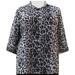 Grey Snow Leopard 3/4 Sleeve Tunic Women's Plus Size Blouse