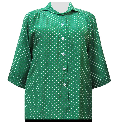 Kelly Dots 3/4 Sleeve Tunic Women's Plus Size Blouse