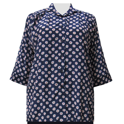 Navy Charming 3/4 Sleeve Tunic Women's Plus Size Blouse