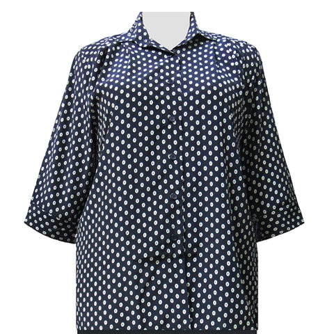 Navy Mint 3/4 Sleeve Tunic Women's Plus Size Blouse