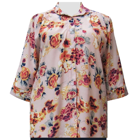 Shell Pink Painted Floral 3/4 Sleeve Tunic Women's Plus Size Blouse
