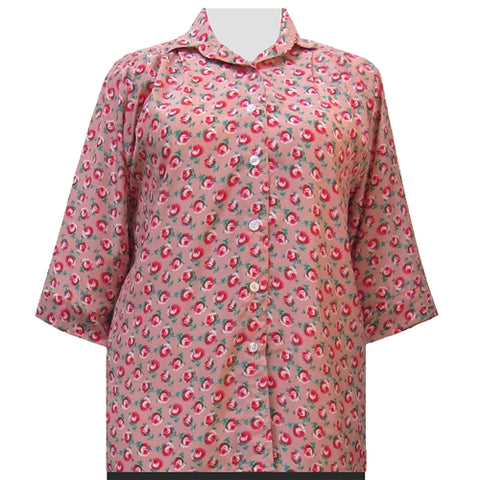 Shell Pink River Rose 3/4 Sleeve Tunic Women's Plus Size Blouse