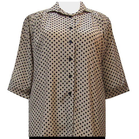 Tan & Black Aspirin Dots 3/4 Sleeve Tunic Women's Plus Size Blouse