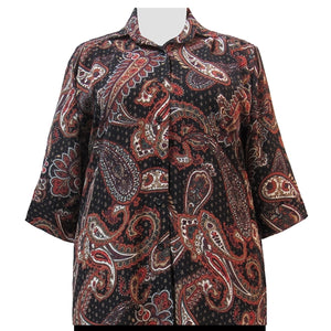 Brown Bombay 3/4 Sleeve Tunic Women's Plus Size Blouse