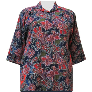 Spice Paisley Floral 3/4 Sleeve Tunic Women's Plus Size Blouse
