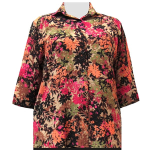 Spice Wildflowers 3/4 Sleeve Tunic Women's Plus Size Blouse
