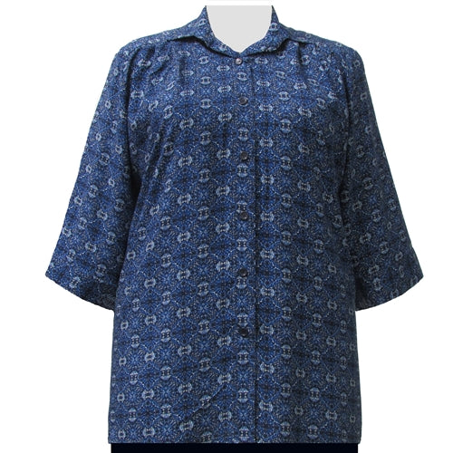 Blue Spirograph 3/4 Sleeve Tunic Women's Plus Size Blouse