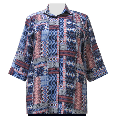 Blue & Red Tribal 3/4 Sleeve Tunic Women's Plus Size Blouse
