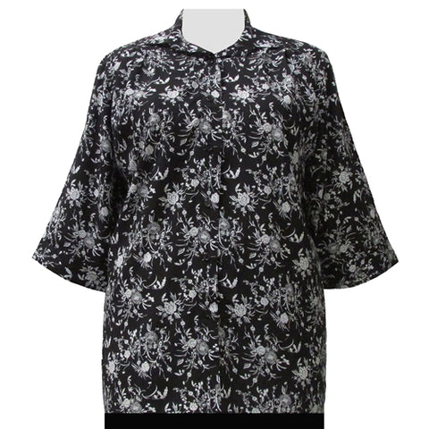 Black & White Wildflowers 3/4 Sleeve Tunic Women's Plus Size Blouse