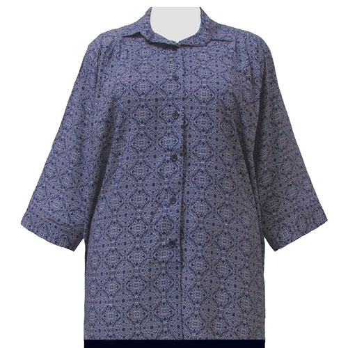 Navy Spirograph 3/4 Sleeve Tunic Women's Plus Size Blouse