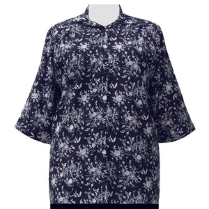 Navy & White Wildflowers 3/4 Sleeve Tunic Women's Plus Size Blouse