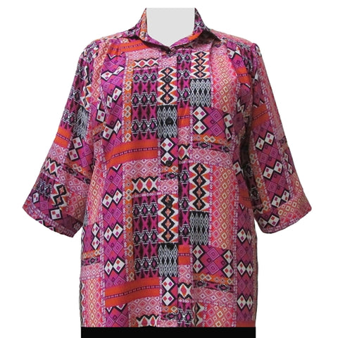 Pink Tribal 3/4 Sleeve Tunic Women's Plus Size Blouse