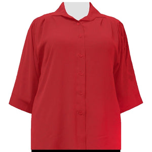 Candy Apple Red 3/4 Sleeve Tunic Women's Plus Size Blouse