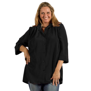 Black 3/4 Sleeve Tunic Women's Plus Size Blouse
