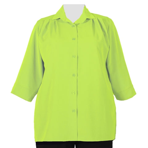 Lime Green 3/4 Sleeve Tunic Women's Plus Size Blouse