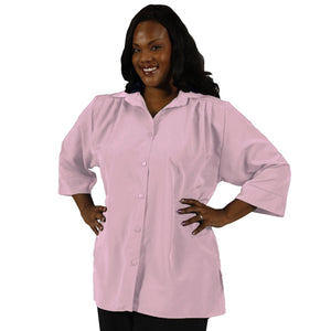 Light Pink 3/4 Sleeve Tunic Women's Plus Size Blouse