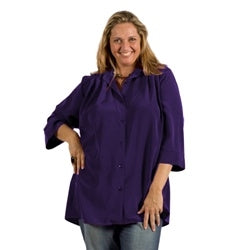 Purple 3/4 Sleeve Tunic Women's Plus Size Blouse