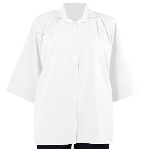 White 3/4 Sleeve Tunic Women's Plus Size Blouse