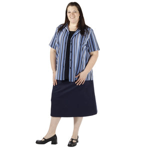 Navy Twill A-Line Skirt Women's Plus Size Skirt