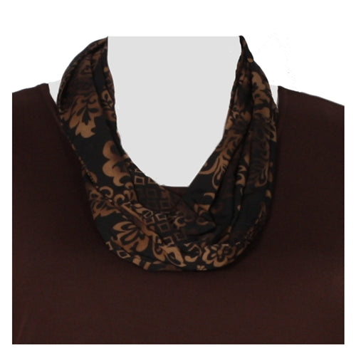 Brown Damask Infinity Scarf