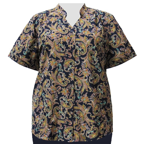Blue & Gold Paisley Design Mandarin Collar V-Neck Tunic Women's Plus Size Blouse
