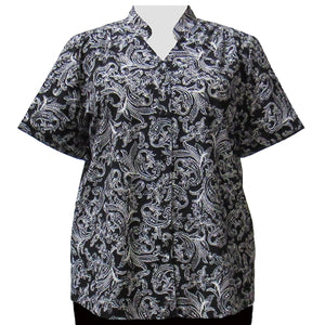 Black & White Paisley Design Mandarin Collar V-Neck Tunic Women's Plus Size Blouse