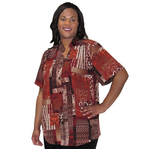 Copper Patchwork Damask Mandarin Collar V-Neck Tunic Women's Plus Size Blouse