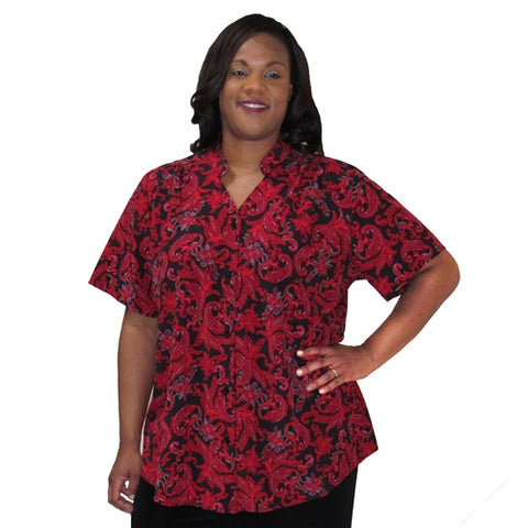 Red Paisley Design Mandarin Collar V-Neck Tunic Women's Plus Size Blouse