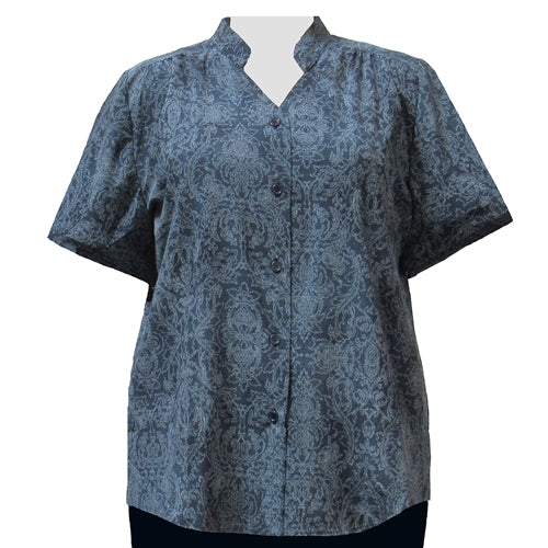 Slate Paisley Garden Mandarin Collar V-Neck Tunic Women's Plus Size Blouse