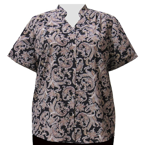 Taupe Paisley Design Mandarin Collar V-Neck Tunic Women's Plus Size Blouse