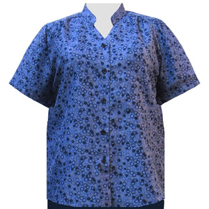 Blue Le Cirque Mandarin Collar V-Neck Tunic Women's Plus Size Blouse