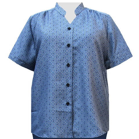 Greyson Blue Mandarin Collar V-Neck Tunic Women's Plus Size Blouse