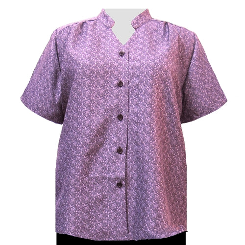 Mauve Cora Mandarin Collar V-Neck Tunic Women's Plus Size Blouse