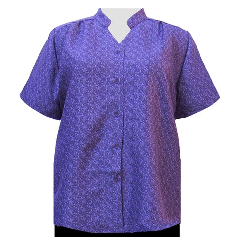 Purple Cora Mandarin Collar V-Neck Tunic Women's Plus Size Blouse