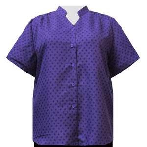 Purple Floating Leaves Mandarin Collar V-Neck Tunic Women's Plus Size Blouse