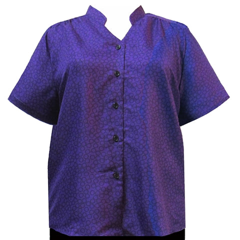 Purple Flo Mandarin Collar V-Neck Tunic Women's Plus Size Blouse