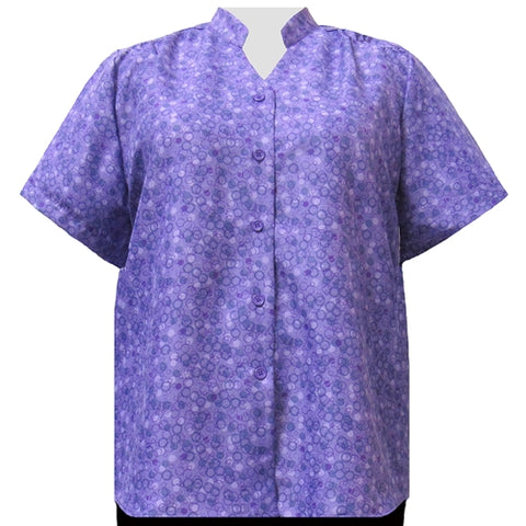 Purple Le Cirque Mandarin Collar V-Neck Tunic Women's Plus Size Blouse
