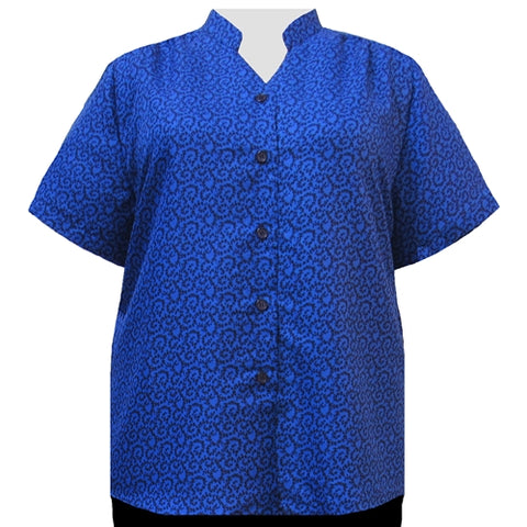 Royal Wreath Mandarin Collar V-Neck Tunic Women's Plus Size Blouse