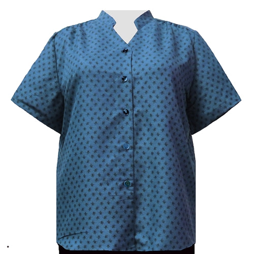 Teal Floating Leaves Mandarin Collar V-Neck Tunic Women's Plus Size Blouse
