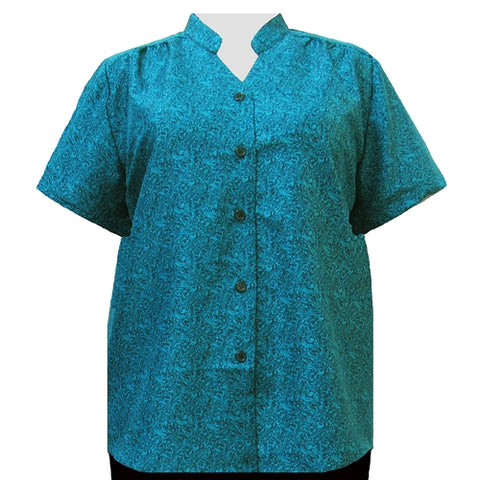 Teal Morrison Mandarin Collar V-Neck Tunic Women's Plus Size Blouse