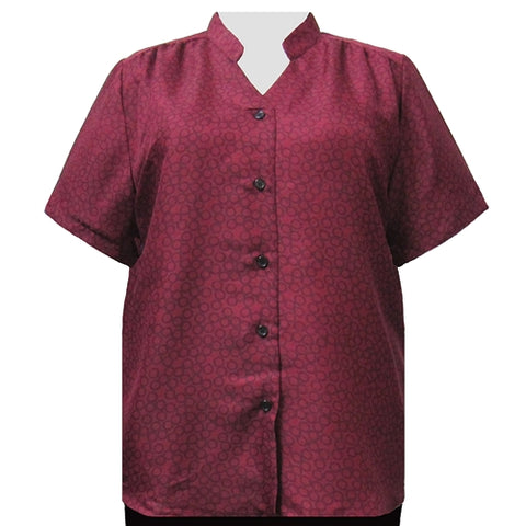 Wine Flo Mandarin Collar V-Neck Tunic Women's Plus Size Blouse
