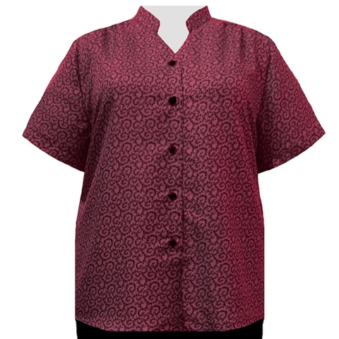 Wine Wreath Mandarin Collar V-Neck Tunic Women's Plus Size Blouse